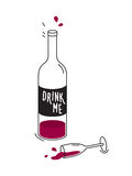Empty bottle of red wine and wineglass. Drawing Royalty Free Stock Images