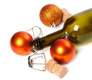 Empty bottle of wine, corks, muselets and Christmas decorations Stock Photo