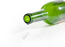 Empty Bottle of Wine and drop Stock Photo