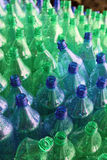 Empty Bottles. Lots of green and blue empty Water Bottles Royalty Free Stock Images