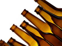 Empty bottles. Empty beer bottles isolated over white background stock photos