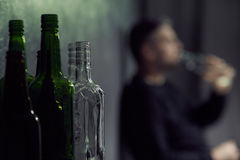 Empty bottles of alcohol Stock Photo
