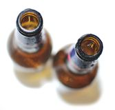 Empty Bottles of Beer. Top View of Empty Beer Bottles on White Background stock images