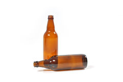 Empty bottles of beer. Two empty bottles of beer royalty free stock photos