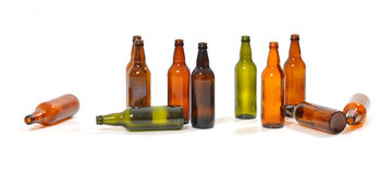 Empty bottles of beer. Several empty bottles of beer stock photography