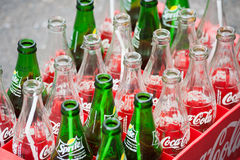 Empty bottles of coca cola and sprite Stock Photography