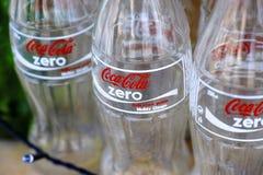 Empty bottles of Coca-Cola Zero Royalty Free Stock Images