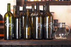 Empty bottles for Red and White Wine Stock Image