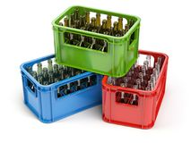 Empty bottles in the strage crate for bottles. Glass recycling. Concept.3d illustration royalty free illustration