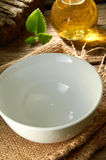 Empty Bowl. On mood table top setup Royalty Free Stock Images