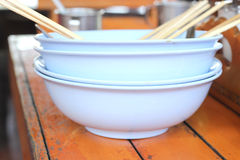 Empty bowl of noodle after eat and it's dirty. Royalty Free Stock Photo