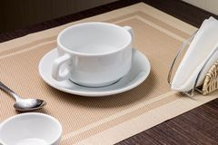 Empty bowl at serving table Royalty Free Stock Photography