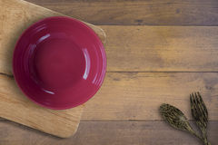 Empty bowl and spool wooden royalty free stock image