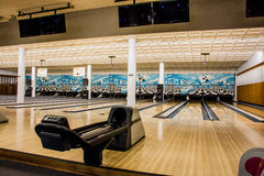 Empty Bowling Alley. Monitor game gutter board pin sport empty bowling score bowl alley lane Royalty Free Stock Photo