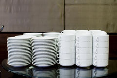 Empty bowls, plates, cups for buffet Royalty Free Stock Image