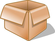 Empty Box. Isolated Illustration of a opened brown box Stock Photo