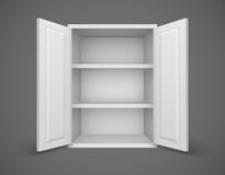 Empty box with open doors and bookshelves Stock Photo