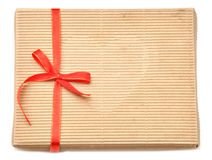 Empty box with  red ribbon Stock Images