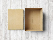 Empty box on the wood Royalty Free Stock Photography