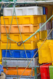 Empty boxes for fish on a trawler Royalty Free Stock Photos