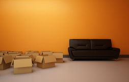Empty Boxes in the Room Stock Photography