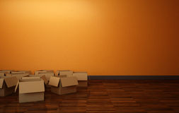 Empty Boxes in the Room Stock Images
