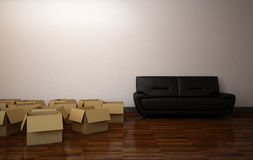 Empty Boxes in the Room Stock Photos