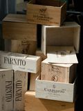 Empty boxes from wine. A pile of empty wooden boxes from wine , different brands from France and Italy Royalty Free Stock Photos