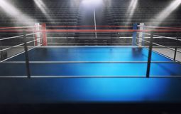 Empty boxing ring in arena, spot lights, smoke and dark night sc Stock Photo