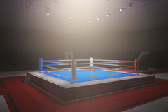 Empty boxing ring. Side view of empty boxing ring in foggy interior with spotight. Surrounded with ropes. 3D Rendering Stock Photo