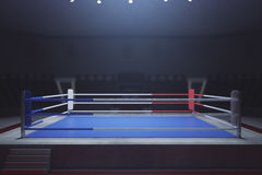 Empty boxing ring. Toned image. Front view, 3D Rendering Stock Images