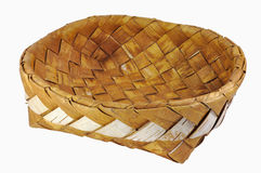 Empty braided birch-bark bread box. Isolated over white background Stock Photos
