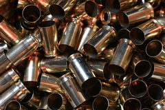 Empty brass cases for reloading Stock Image