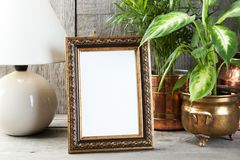 Empty brass picture frame on wooden background. Empty brass vertical picture frame, green plants and table lamp on old wooden gray textured background. Home stock photography