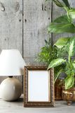 Empty brass picture frame on wooden background. Empty brass vertical picture frame, green plants and table lamp on old wooden gray textured background. Home royalty free stock images