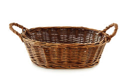 Empty bread basket. Isolated on white background Stock Photos