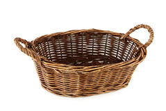 Empty bread basket. Isolated on white background Stock Images