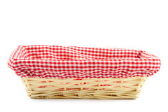 Empty bread basket with checkered cloth Stock Image
