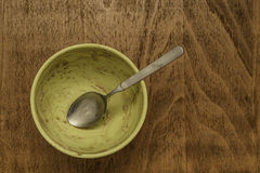Empty breakfast bowl with spoon Stock Images