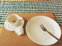 Empty breakfast. The left over after delicious breakfast royalty free stock image
