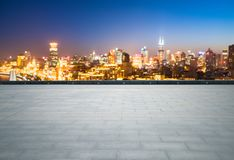 Empty brick floor with dreamlike cityscape. And skyline, shanghai the bund at night Royalty Free Stock Images