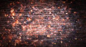 Empty brick wall background, night view, neon light, rays. Celebratory background stock photography