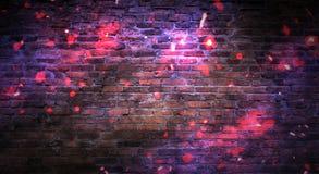 Empty brick wall background, night view, neon light, rays. Celebratory background stock photo