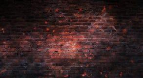 Empty brick wall background, night view, neon light, rays. Celebratory background stock image