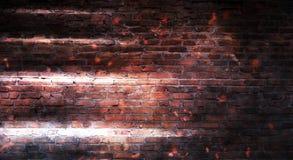 Empty brick wall background, night view, neon light, rays. Celebratory background stock images