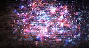 Empty brick wall background, night view, neon light, rays. Celebratory background royalty free stock photo