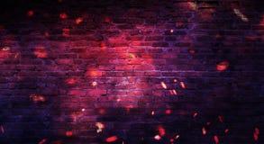 Empty brick wall background, night view, neon light, rays. Celebratory background royalty free stock image