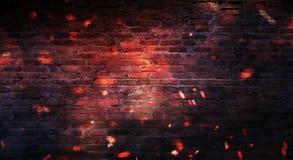 Empty brick wall background, night view, neon light, rays. Celebratory background royalty free stock photos