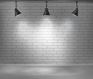 Empty brick wall. Blank room is illuminated by three lamps. Background for advertising indoors. Stock vector illustration Royalty Free Stock Images