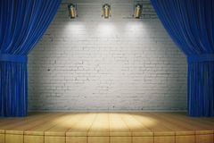 Empty brick wall stage Royalty Free Stock Photos